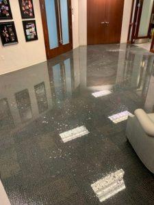 water leak office building